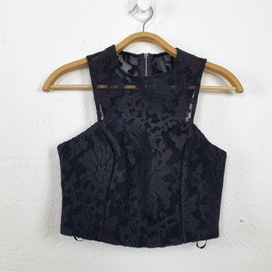 FOREVER NEW Black Lace Crop Top Size 6